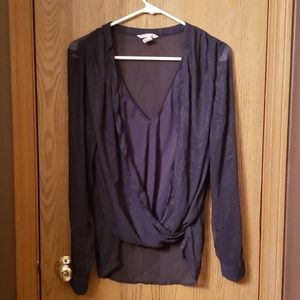 COPY - Dark blue wrap around shirt